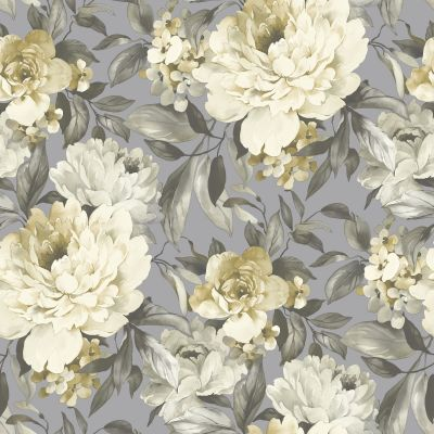 Gardenia Glitter Wallpaper Grey / Ochre Holden 36071