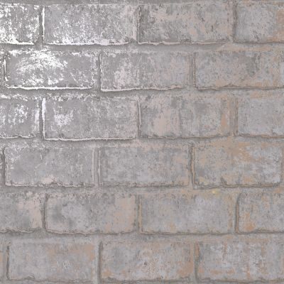 Glistening Brick Wallpaper Slate / Rose Gold Holden 12951