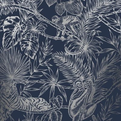 Sumatran Wallpaper Navy / Silver Holden 65760