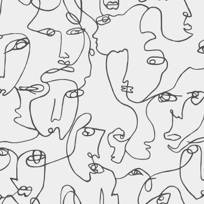 Abstract Faces Wallpaper Black / White Holden 12993
