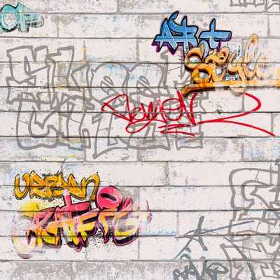 White Graffiti Wallpaper