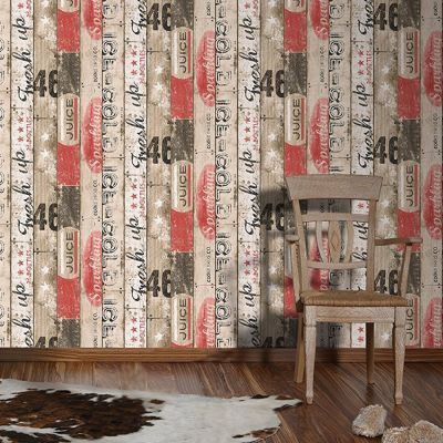 Surf Wood Panel Wallpaper Red AS Creation 95950-1