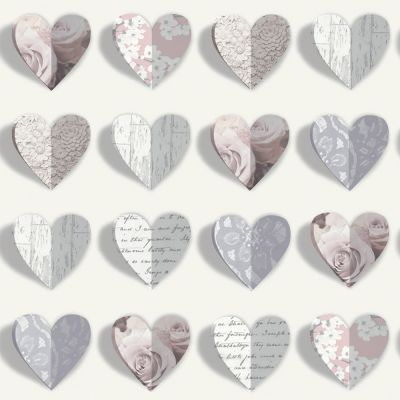 Olivia Hearts Wallpaper - Blush - 669701 | Feature | Modern