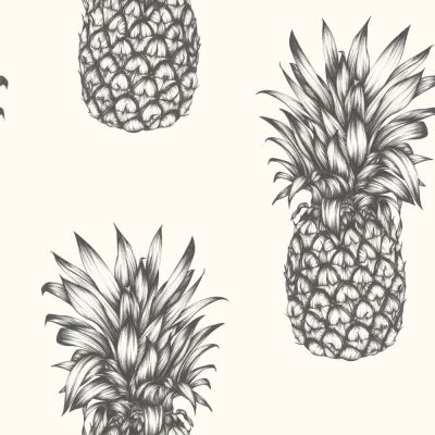 Tropics Copacabana Pineapple Wallpaper - Black & White - Arthouse 690900