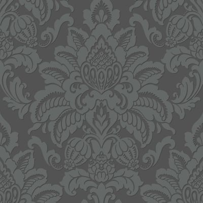 Precious Metals Glisten Damask Wallpaper - Gunmetal - Arthouse 673201