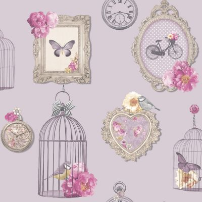 Madeline Frames Wallpaper - Heather - 694400 Arthouse | Shabby Chic | Feature