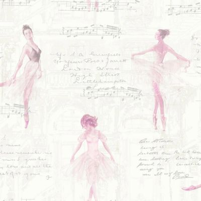 Pirouette Ballet Ballerina Wallpaper Pink - Arthouse 668200