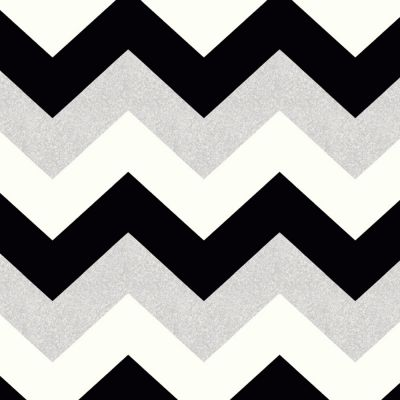 Glitterati Chevron Wallpaper Black Platinum Arthouse 892301