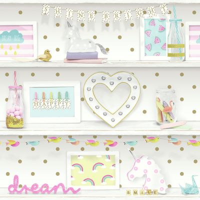Arthouse Girls Life Bookshelf Wallpaper - Multi - 696004 | Glitter