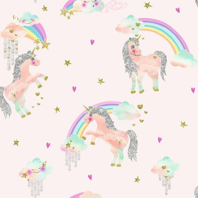 Rainbow Unicorn Glitter Wallpaper Pink Arthouse 696108 | Bedroom