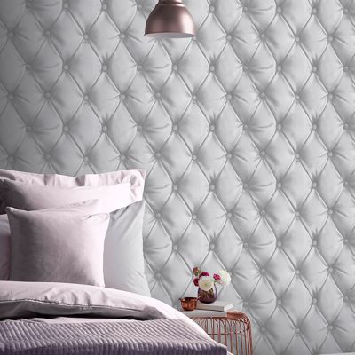 Desire Chesterfield Leather Effect Wallpaper Silver Arthouse 618104