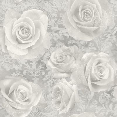 Reverie Rose Wallpaper Silver Arthouse 623303