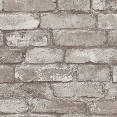 Silver Grey Brick Effect Wallpaper - Fine Decor FD31286