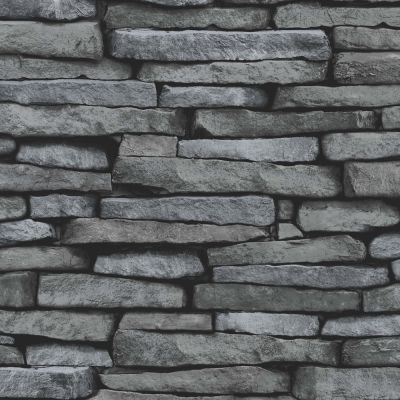 Black and Silver Stone Slate Effect Wallpaper - Fine Decor