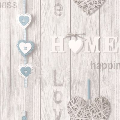 Fine Decor Love Your Home Wallpaper - Blue FD41719 | Feature