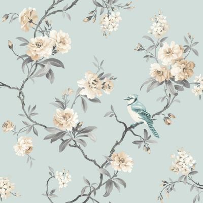 Chinoiserie Bird Wallpaper - Duck Egg Blue - Fine Decor FD40765 | Decor | Feature