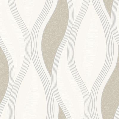Wave Embossed Textured Wallpaper - Beige - E62007