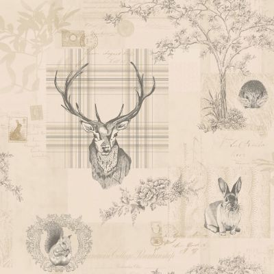 Richmond Highland Stag Wallpaper - Charcoal - 98012