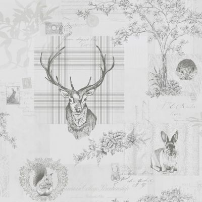 Richmond Highland Stag Wallpaper - Grey - 98013