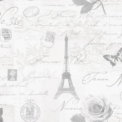 Calligraphy Paris Postcard Wallpaper - Grey - 97752