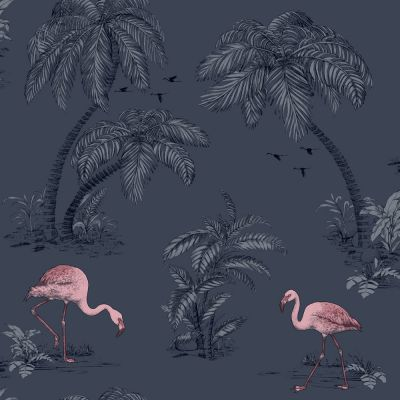 Holden Flamingo Lake Wallpaper - Midnight Blue 12382 | Feature | Decor