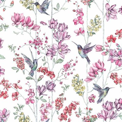 Holden Charm Hummingbird Flower Wallpaper - White 12390 | Feature