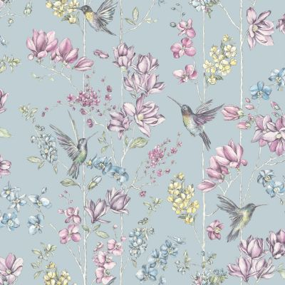 Holden Floral Charm Hummingbird Wallpaper - Duck Egg 12391 | Feature