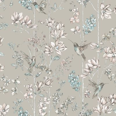 Holden Floral Charm Hummingbird Wallpaper - Soft Gold 12394 | Feature