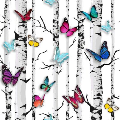 Emperor's Garden Butterfly Wallpaper - White - 102529