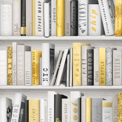 Fashion Library Bookcase Wallpaper - Gold - 139503 | Decor | Feature
