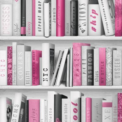 Fashion Library Bookcase Wallpaper - Pink - 139501 | Decor | Feature