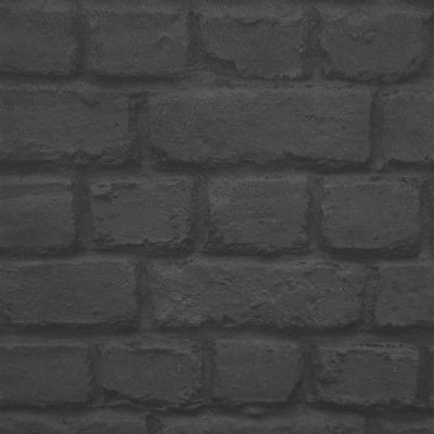 Rasch Black Brick Effect Wallpaper (226744)