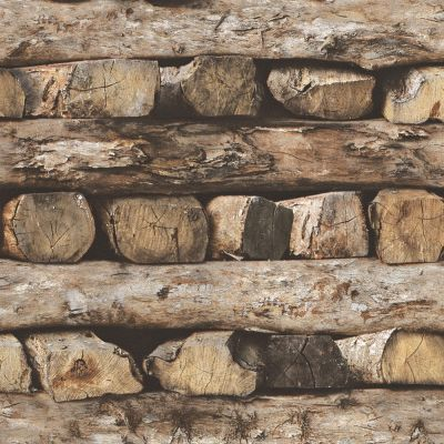 Rasch Stacked Logs Wallpaper - 931808 | Feature | Bedroom