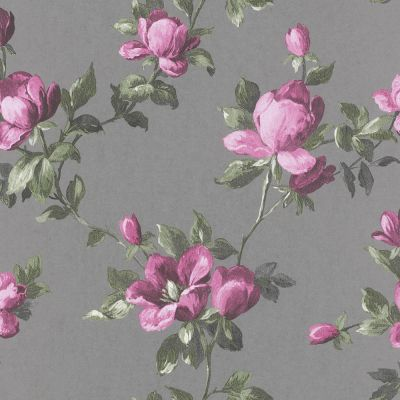Emilia Rose Floral Wallpaper Silver and Pink Rasch 502169 | Feature