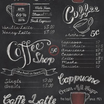 Coffee Shop Blackboard Wallpaper Rasch 234602 | Feature