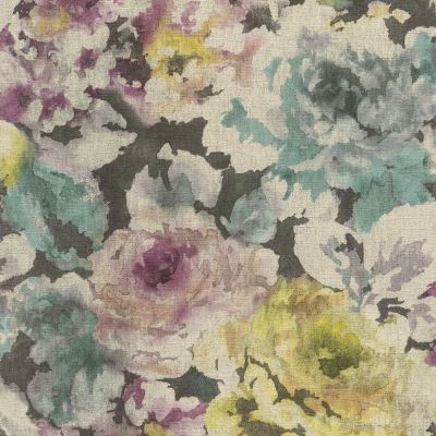 Florentine Floral Fabric Effect Wallpaper Plum, Green and Black Rasch 455649