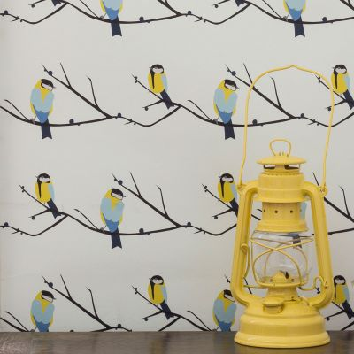 Juneberry and Bird Wallpaper yellow Lorna Syson JBW