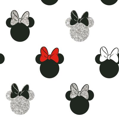 Disney Minnie Mouse Glitter Wallpaper White Graham & Brown 105828
