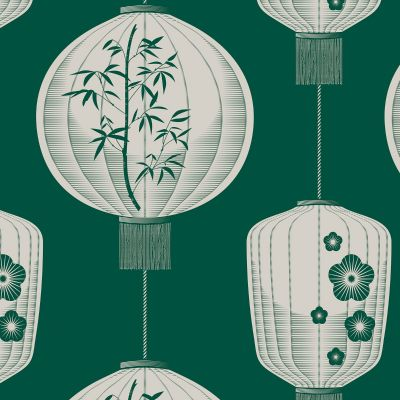 Lucky Lantern Wallpaper, Douglas Fir - Mini Moderns AZDPT045DF