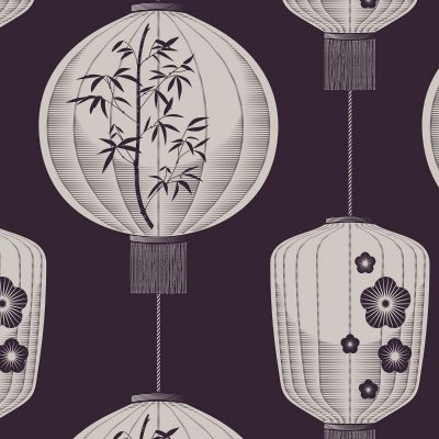 Lucky Lantern Wallpaper Winter Plum Mini Moderns AZDPT045WP