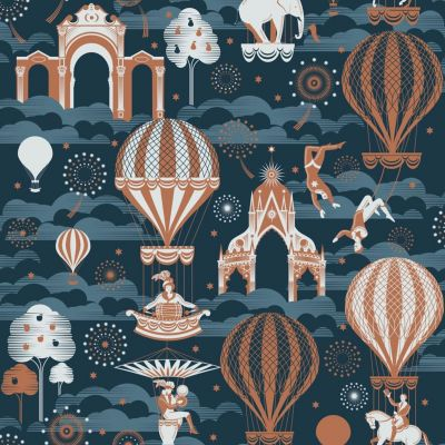 Pleasure Gardens Wallpaper Midnight and Copper Mini Moderns AZDPT042MI