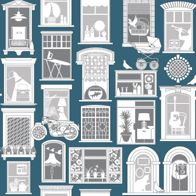 One Day Wallpaper Washed Denim Mini Moderns AZDPT028WD