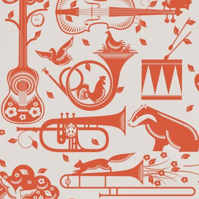 Pet Sounds Wallpaper Harvest Orange Mini Moderns AZDPT012HO