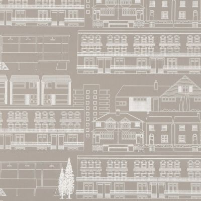 Do You Live in a Town? Wallpaper Weathered Cedar Mini Moderns AZDPT001WC