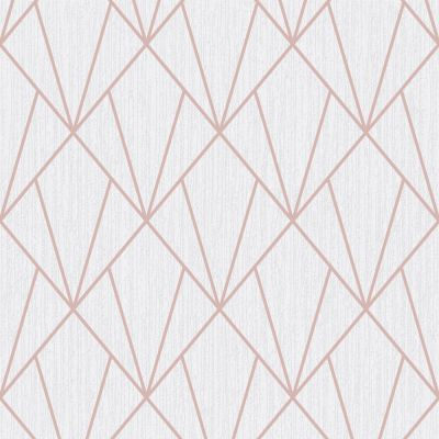 Indra Geometric Wallpaper Rose Gold and Cream Muriva 154102
