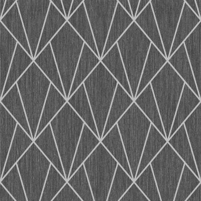 Indra Geometric Wallpaper Silver and Grey Muriva 154101