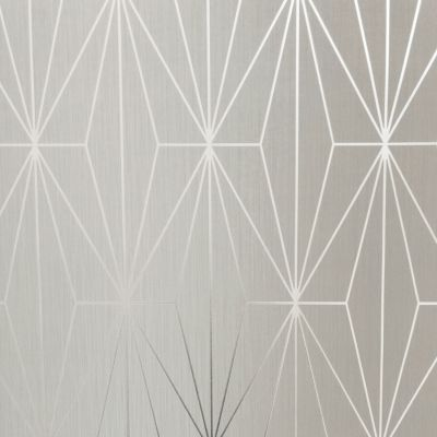 Kayla Metallic Geometric Wallpaper Fawn / Silver Muriva 703011