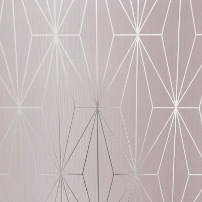 Kayla Metallic Geometric Wallpaper Blush / Silver Muriva 703012