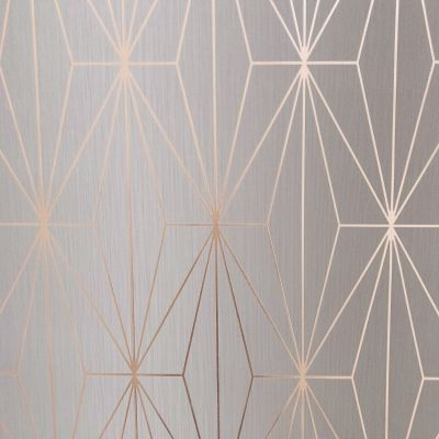Kayla Metallic Geometric Wallpaper Grey / Rose Gold Muriva 703013