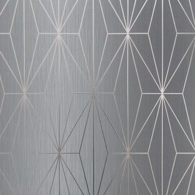 Kayla Metallic Geometric Wallpaper Grey / Gunmetal Muriva 703014